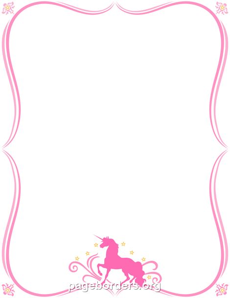 headshot border template - printable unicorn border use the border in microsoft word