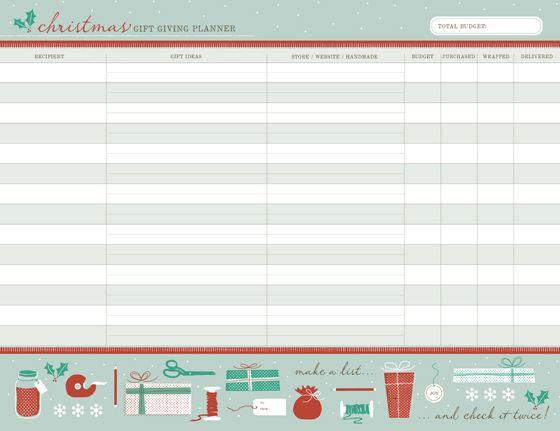 Christmas Gift Planner Printable