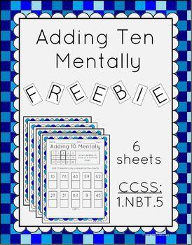 Worksheets 5.nbt.1 Worksheets freebie adding 10 mentally worksheets 1 nbt 5 5
