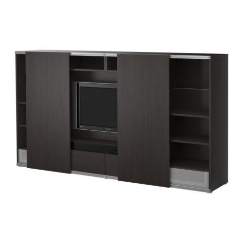 Po ng footstool black brown isunda gray ikea tv for Ikea meuble besta rangement