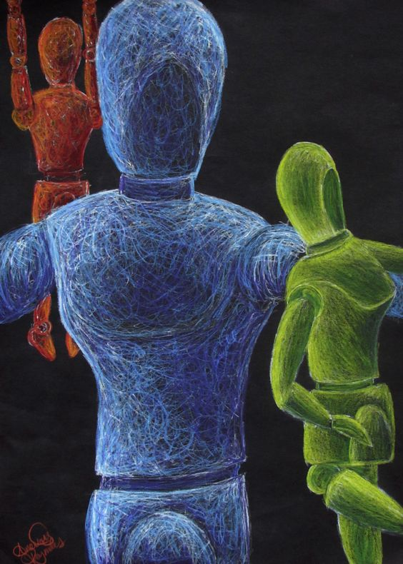 Scribble Drawing Lesson Plan : Mannequin study w colored pencil on black sulphite
