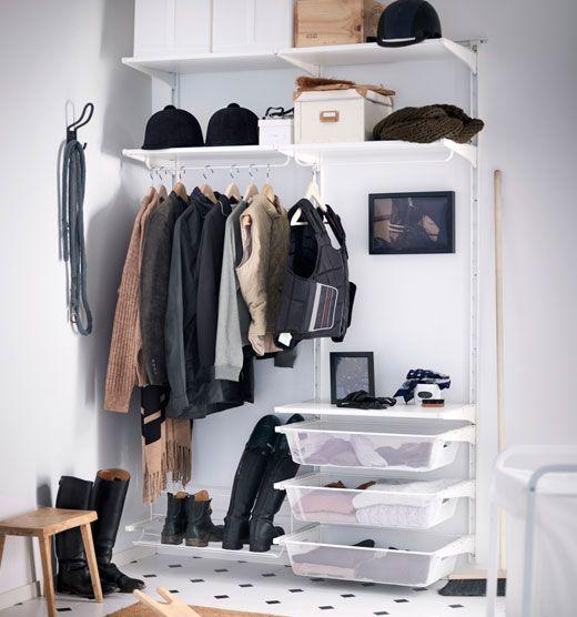 Rangement Ouverts Pour Vetements Et Chaussures Dans Une Salle Blanc Meuble Rangement Ikea Dressing Fait Maison Meubles De Rangement