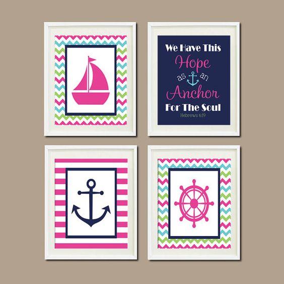 Nautical Wall Decor Pinterest : Nautical nursery decor baby girl wall art hot by