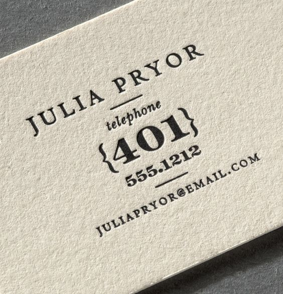 Dark grey or black ink letterpressed onto ecru with playful fonts: Classic with a modern twist.