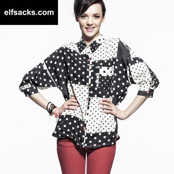 Womens Dot Polo Collar Three quarter Sleeve Tshirt