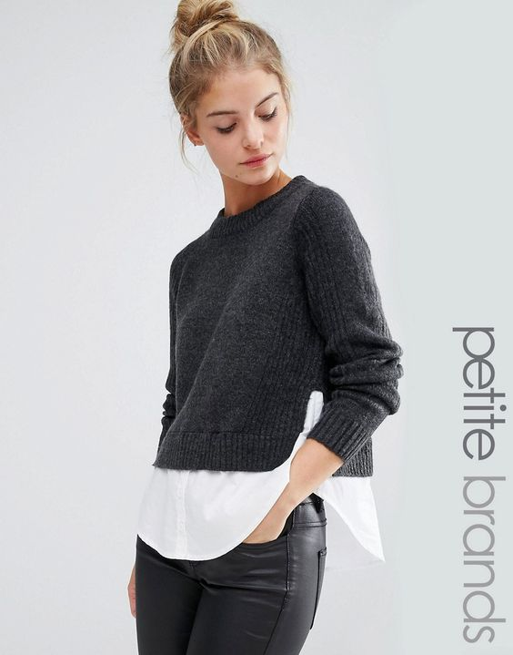 This is styled for me, it is a Noisy May Petite 2 In 1 Sweater Shirt.  Love it.: