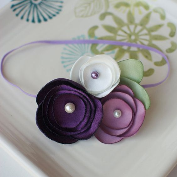 Lilac and Cream Satin Flower Cluster Headband on by MyLittlePixies