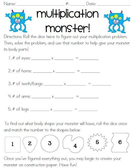Cute multiplication monster activity