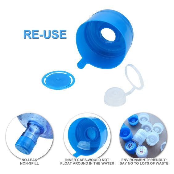 Non Spill Cap Anti Splash Bottle Caps Reusable For 55mm 3 And 5 Gallon Water Jugs With Water Bottle Handle Pack Gallon Water Jug Gallon Water Bottle Water Jug
