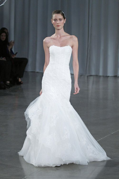 Monique Lhuillier wedding dress from her Fall 2013 bridal collection runway show | via junebugweddings.com