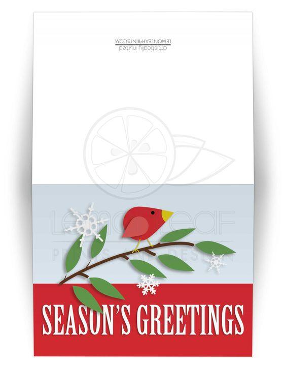 Christmas Cards - Red Holiday Bird Season's Greetings