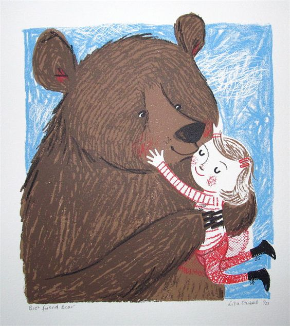 Best friend bear is an original 5 colour screen print, hand printed using quality acrylic, paper and elbow grease. I hand squeegied each print and