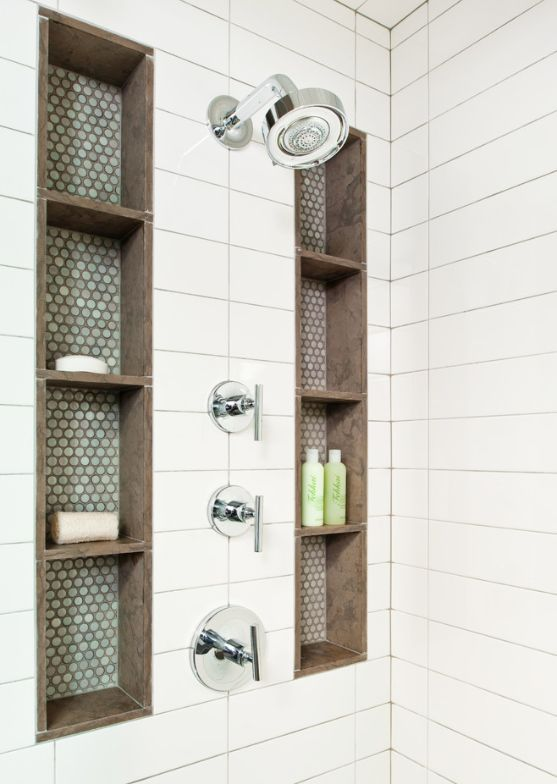 Tall shower niches blue brown and subway tile for Brown bathroom tiles ideas