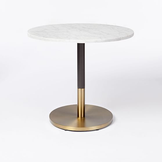 White Marble Round Bistro Table Branch Base Marble Bistro