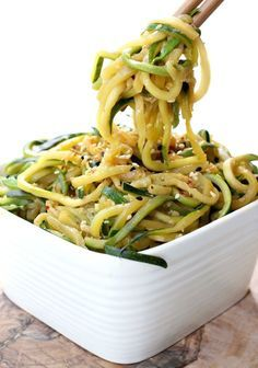 Asian Zucchini Noodles are the most delicious side dish! Or add chicken or beef and turn it into dinner!