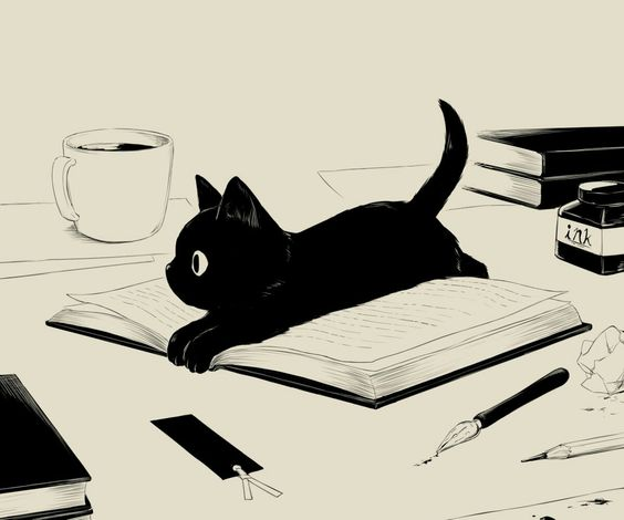 Black cat sitting on a book