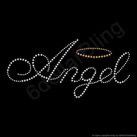 ANGEL HALO /& WINGS Iron On Hotfix Rhinestone Diamante Transfer Motif BABY GIRL