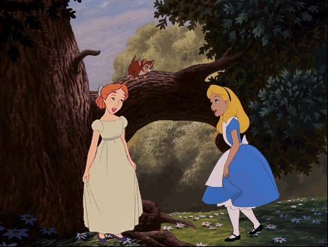 Wendy (Disney Peter Pan) and Alice (Disney Alice in Wonderland) Curtsey gif crossover disney crossover gif edit