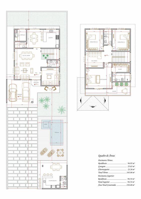 Projeto de sobrado de 3 quartos com 215,14m²