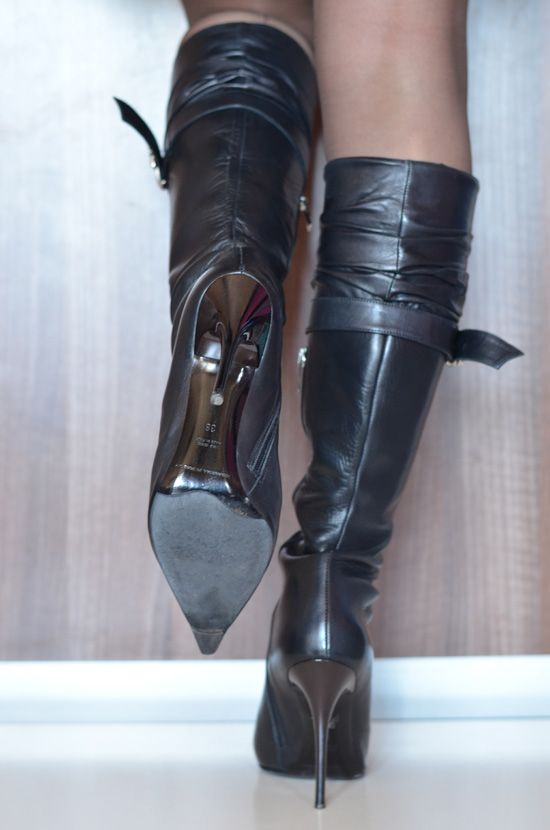 Black thigh boots, Leather boots women