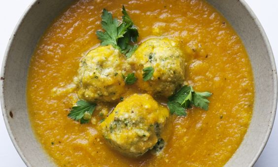 Nigel Slater's carrot and cardamom soup with herb ricotta dumplings recipe