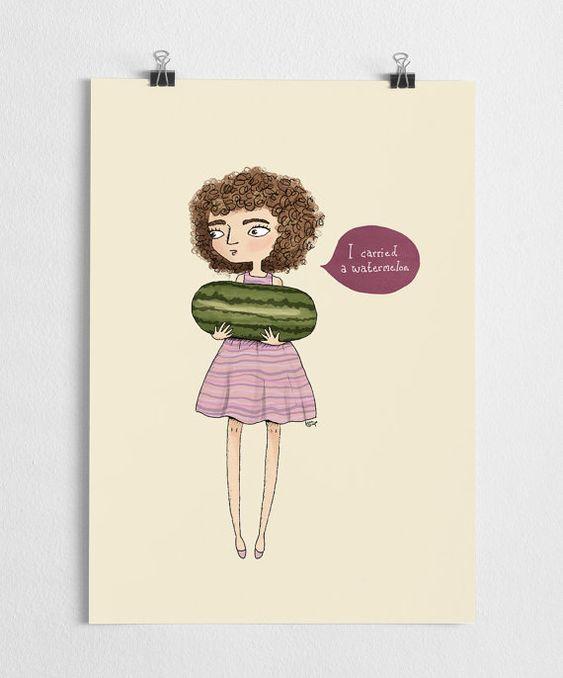 Dirty dancing art imprimé, illustration de la pastèque, fille, citation de film…: