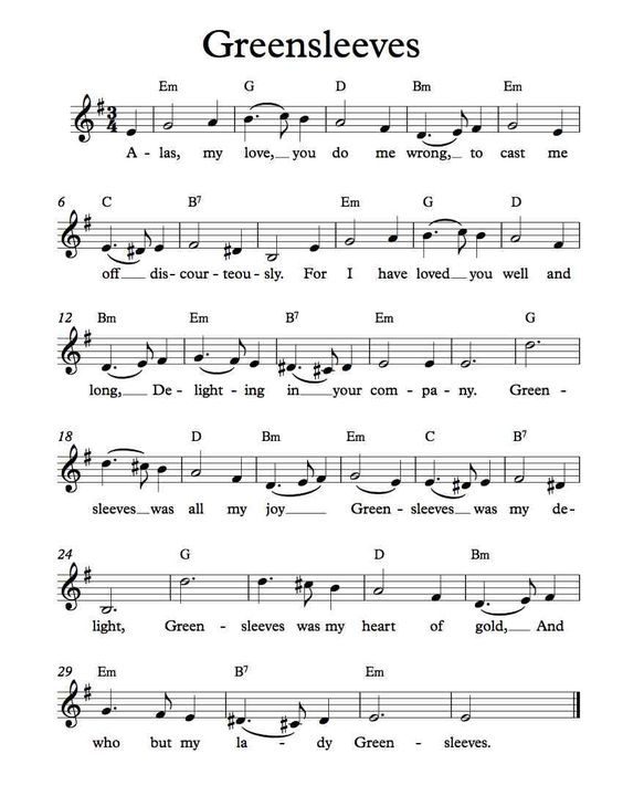 Free sheet music free lead sheet greensleeves for First house music song