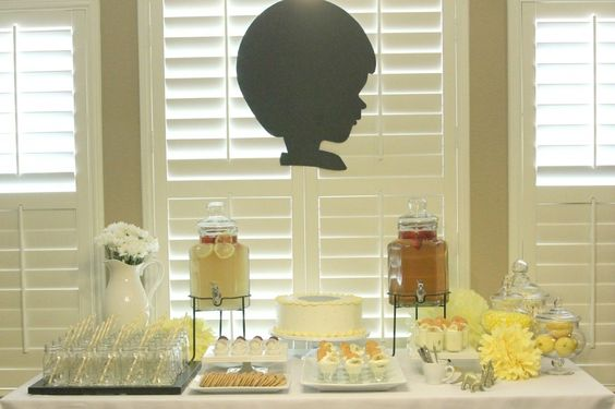 Simple, but sweet baby boy shower - love the silhouette!