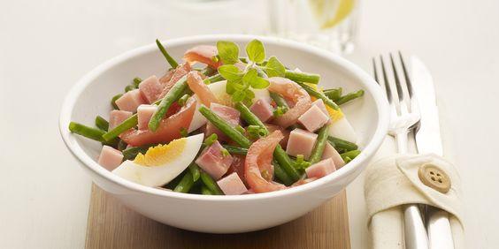 Salade met prinsessenboontjes en Meesterlyck-ham