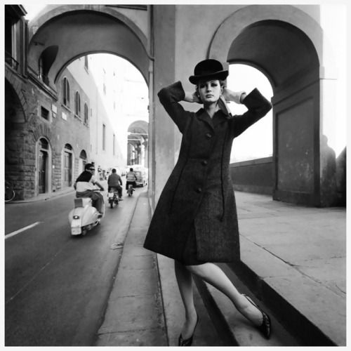 "1 & 3 Celia Hammond by Terence Donovan  2 Celia Hammond in pinstriped ""Gangster""  suit inspired by Yves Saint Laurent from Wallis Shops,1967  Photo John Carter 4 Celia Hammond  in fashion series done in Florence for Vogue 1964  Photo Brian Duffy"