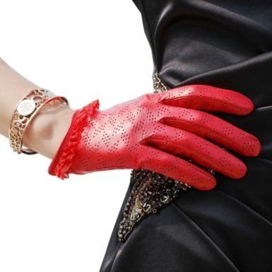 Amazon.com: WARMEN Women's Genuine Lambskin Comfortable Perforated Leather Gloves with Lace Cuff (L, Red): Clothing
