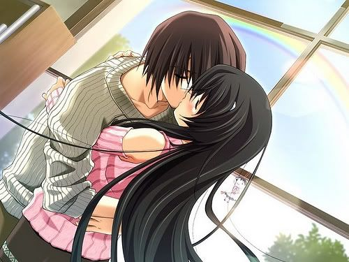 Anime boy and girl kissing