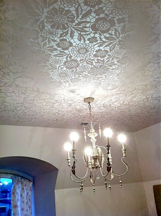 Bella Tucker Decorative Finishes ceiling treatment at Nashville Parade of Homes. Skylar's Lace stencil from Royal Design Studios.
