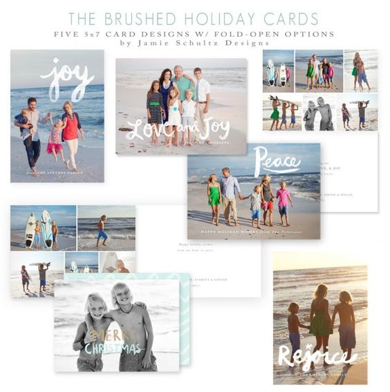 Brushed Holiday Card Templates by Jamie Schultz Designs