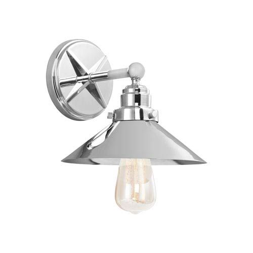 Feiss Vs23401ch Hooper One Light Wall Bath Fixture In Chrome Polished Industrial Bellacor In 2020 Bathroom Wall Sconces Bathroom Sconces Wall Sconce Lighting