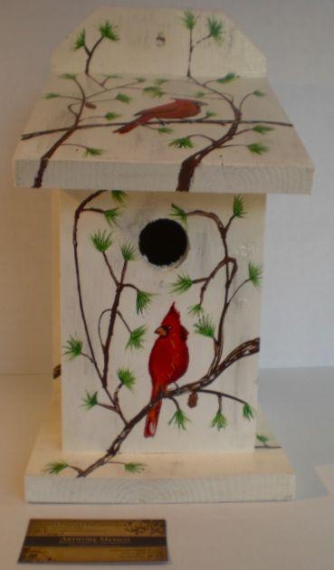Hand painted birdhouse ideas invierno bird house - Bird house painting ideas ...