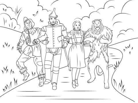 Espantapájaros, Hombre de Hojalata, Dorothy y el León Cobarde Dibujo para colorear
