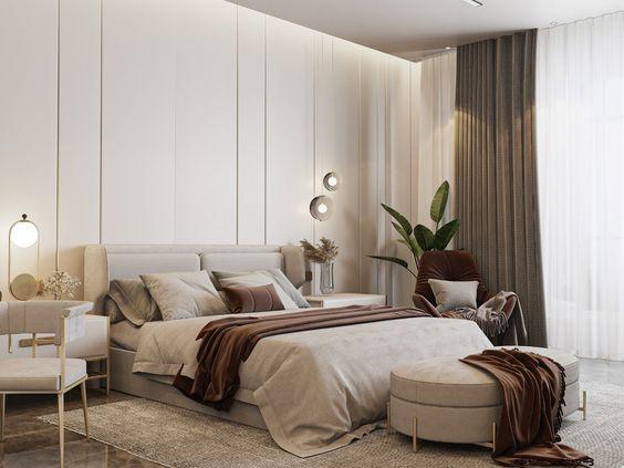 モダン インテリア 寝室 ベッドリネン 素材 上質 コーディネート例
