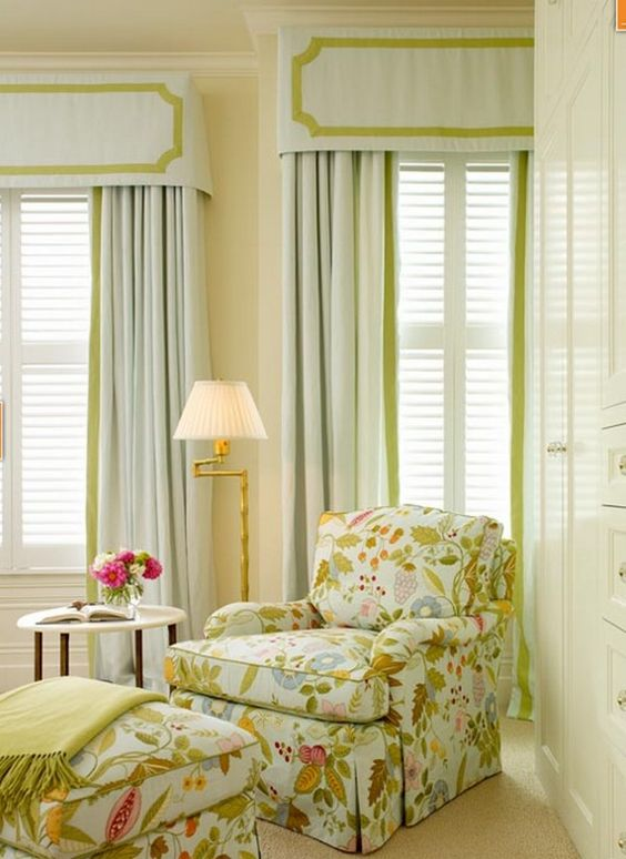 Love teh fabric and window treatments...Cornice Board & Drapery panels..this may seriously be one of my favorite pins. This is my style all wrapped up with a cherry one top!: