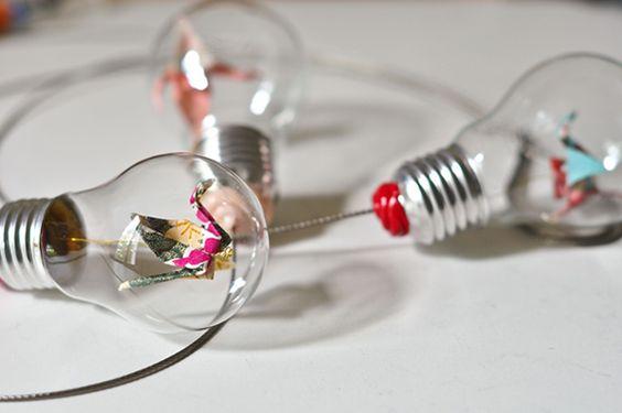 Diy Une Suspension D Ampoules Et D Origami Photos Origami Et No L