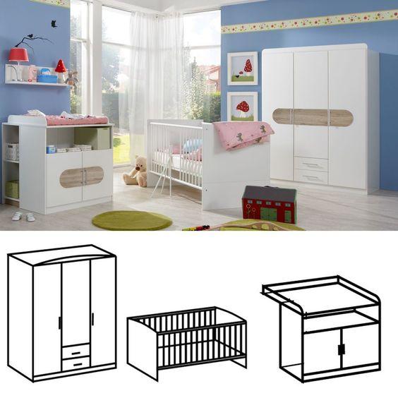 Babyzimmer Set Lilly komplett 3tlg Schrank 3trg Weiß Eiche San