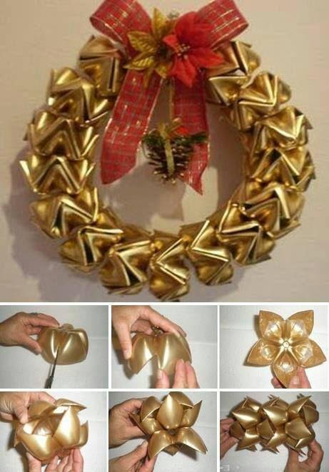 ⛄ Garrafas plásticas recicladas em uma grinalda (como) -  /  ⛄ Plastic Bottles Recycled Into A Wreath (how to) -
