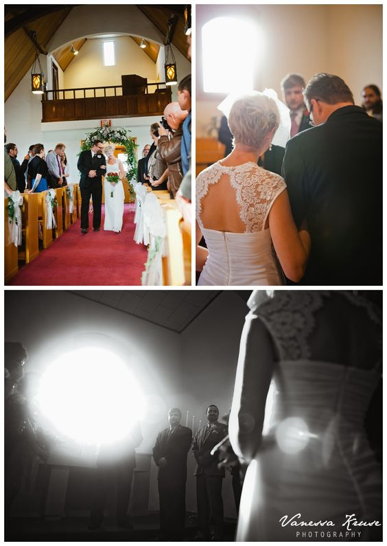 Here she comes. Ceremony: Foothills Chapel, Reception: Table Mountain Inn. Colorado Wedding. Vanessa Kruse Photography.