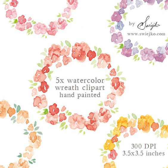 Watercolor Clipart Floral Frame Digital Clipart by SwiejkoForPrint