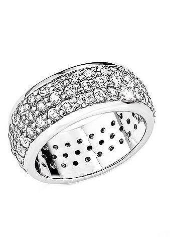 Ring, s.Oliver, »SO573«. Dieser modische Ring, ca. 9 mm breit, ist mit weißen Zirkonia (synth.) verziert. Silber 925, rhodiniert. Lieferung in einer s.Oliver-Geschenkbox. ...
