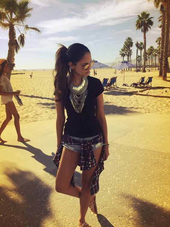 Actress & Singer Eiza Gonzalez wearing a Loyal Antiquity statement necklace #calivibes #LA
