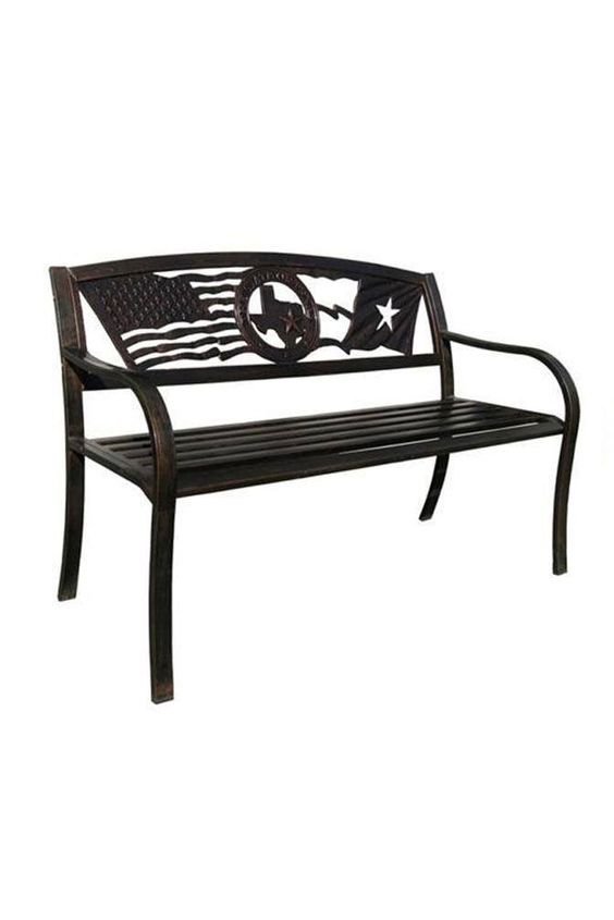 Flags Over Texas Decorative Bench