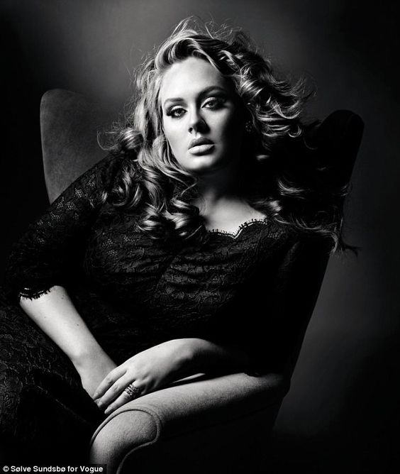 Adele .  Beautiful voice , beautiful woman . She's not the size of a toothpick and she proudly flaunts the body God has blessed her with . Her songs have meaning , they aren't just words . She is such a wonderful influece on women . <3
