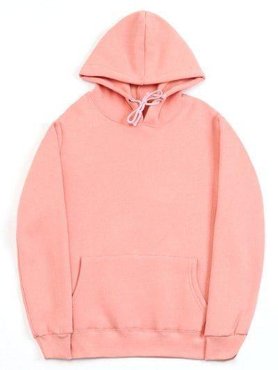 Casual Kangaroo Pocket Fleece Solid Color Hoodie | Hoodies