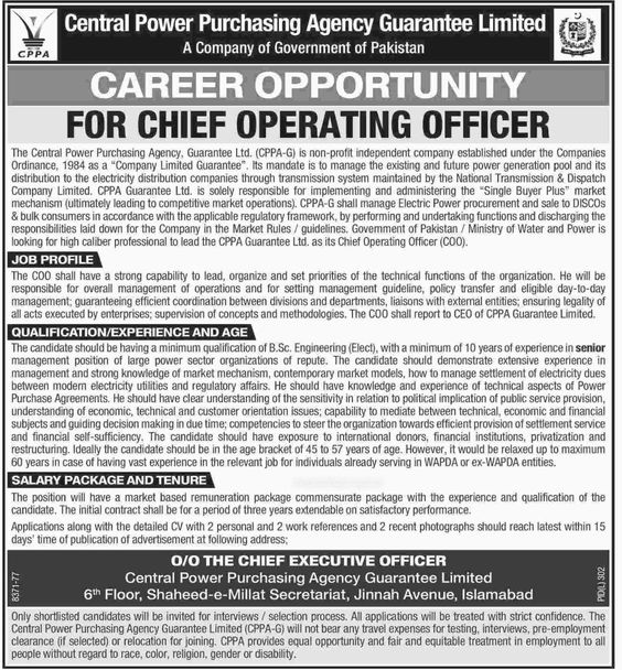 Central Power Purchasing Agency Guarantee Limited Jobs Islamabad Required Chief Operation Officer, More Details of Jobs http://goo.gl/Z0I6Dy
